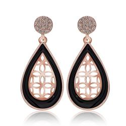 Vienna Jewelry 18K Rose Gold Laser Cut Acorn Shaped Drop Down Earrings Made with Swarovksi Elements - Thumbnail 0