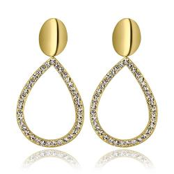 Vienna Jewelry 18K Gold Hollow Classic Drop Down Earrings Made with Swarovksi Elements - Thumbnail 0