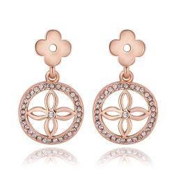 Vienna Jewelry 18K Rose Gold Petite Cross Drop Down Earrings Made with Swarovksi Elements - Thumbnail 0