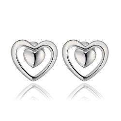 Vienna Jewelry 18K White Gold Petite Heart Shaped Stud Earrings Made with Swarovksi Elements - Thumbnail 0