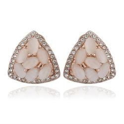 Vienna Jewelry 18K Rose Gold Triangular Shaped Natural Gemstones Stud Earrings Made with Swarovksi Elements - Thumbnail 0