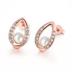 Vienna Jewelry 18K Rose Gold Plated Pear Studded Pearl - Thumbnail 0