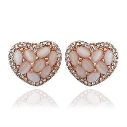 Vienna Jewelry 18K Rose Gold Heart Shaped Natural Gemstones Stud Earrings Made with Swarovksi Elements - Thumbnail 0