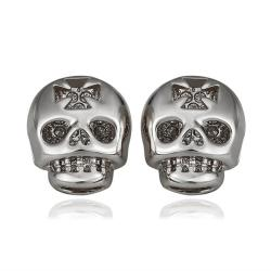 Vienna Jewelry 18K White Gold Skull Shaped Stud Earrings Made with Swarovksi Elements - Thumbnail 0