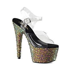 Women's Pleaser Bejeweled 708MS Ankle Strap Sandal Clear PVC/Green Multi Rhinestone