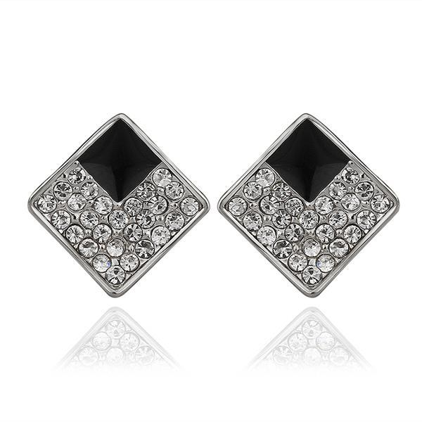 Vienna Jewelry 18K White Gold Diamond Shaped Stud Earrings with Onyx Layering Made with Swarovksi Elements - Thumbnail 0