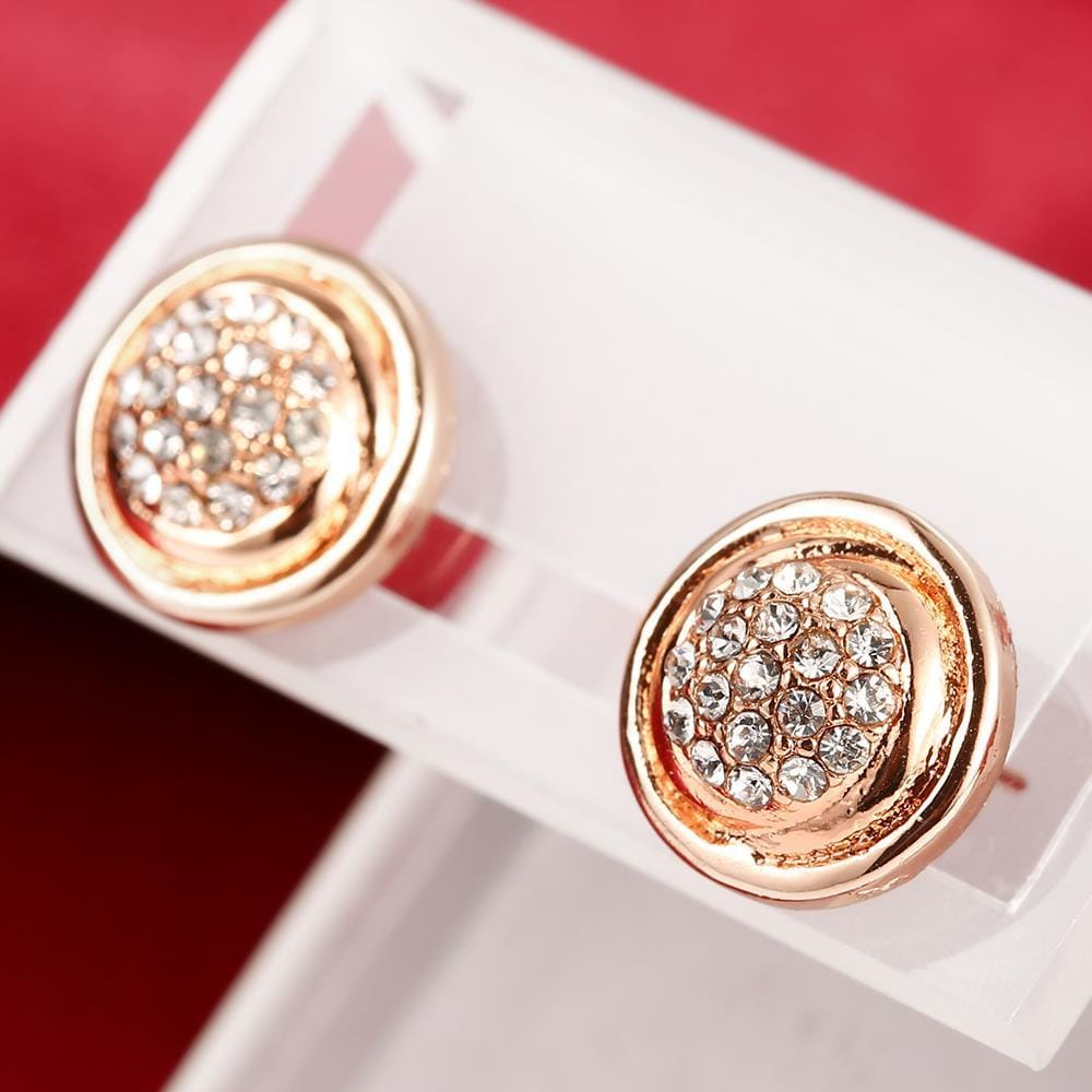 Vienna Jewelry 18K Rose Gold Classic Petite Stud Earrings Made with Swarovksi Elements