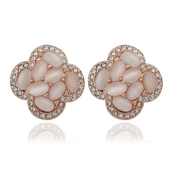 Vienna Jewelry 18K Rose Gold Clover Shaped Natural Gemstones Stud Earrings Made with Swarovksi Elements
