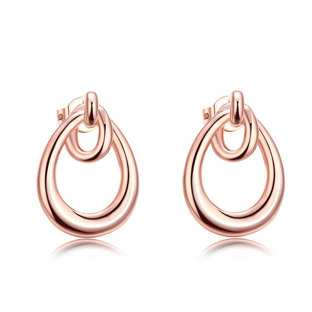 Vienna Jewelry 18K Rose Gold Plated Double Hoop Studded Earrings