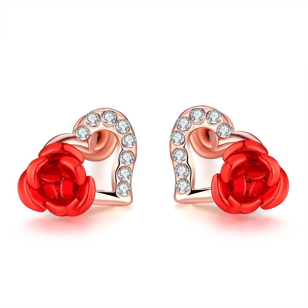 Vienna Jewelry 18K Rose Gold Plated Heart Flower Stud Earrings