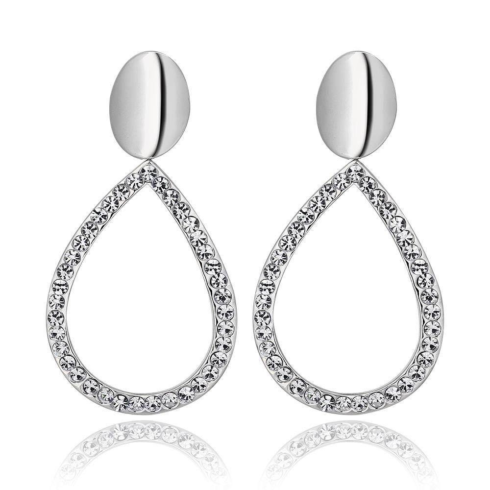 Vienna Jewelry 18K White Gold Hollow Classic Drop Down Earrings Made with Swarovksi Elements