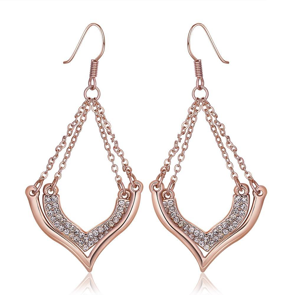Vienna Jewelry 18K Rose Gold Changelier Style Drop Down Earrings Made with Swarovksi Elements