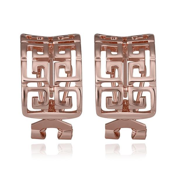 Vienna Jewelry 18K Rose Gold Oriental Design Stud Earrings Made with Swarovksi Elements