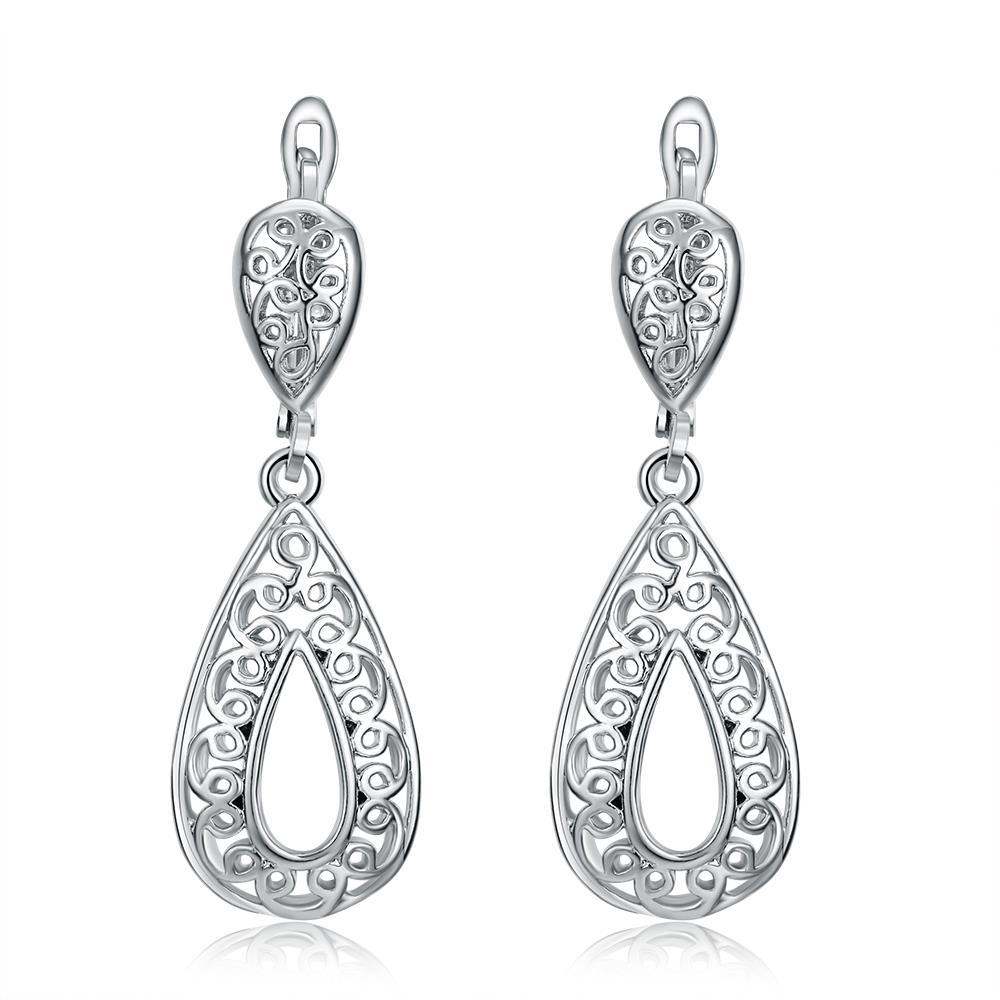 Vienna Jewelry 18K White Gold Plated Bohemian Style Drop Earrings