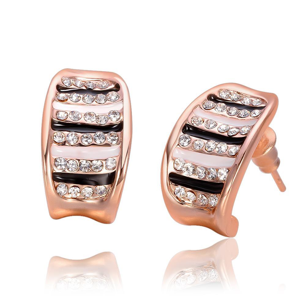 Vienna Jewelry 18K Rose Gold Stud Earrings with Ivory & Onyx Lining Made with Swarovksi Elements