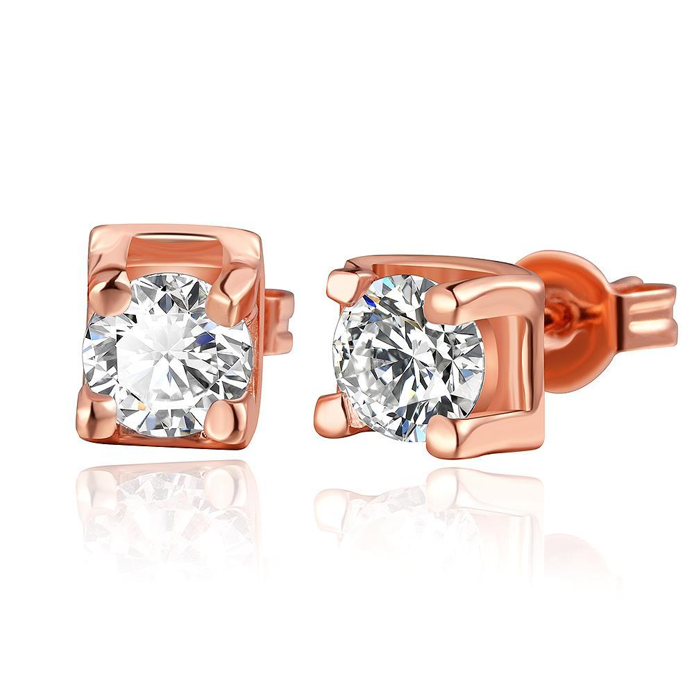 Vienna Jewelry 18K Rose Gold Classic Stud Earrings with Crystal Gem Made with Swarovksi Elements