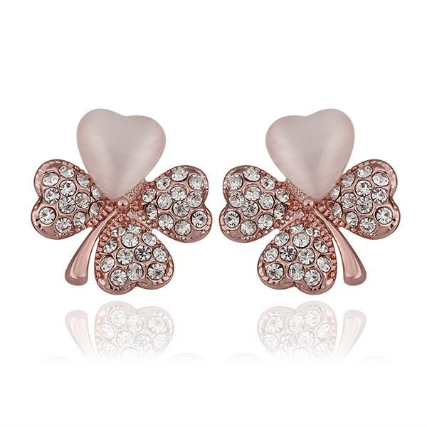 Vienna Jewelry 18K Rose Gold Clover Stud Earrings with Ivory Inlay Made with Swarovksi Elements