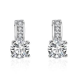 Vienna Jewelry Triple Stone Crystal Pave with Diamond Simulated Studs - Thumbnail 0