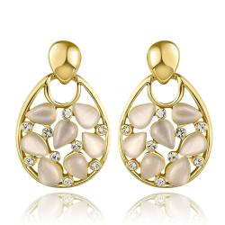 Vienna Jewelry 18K Gold Hollow Drop Down Earrings with Ivory Inlay Made with Swarovksi Elements - Thumbnail 0