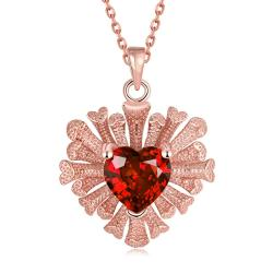 Vienna Jewelry Rose Gold Plated Overlayering Heart Necklace - Thumbnail 0