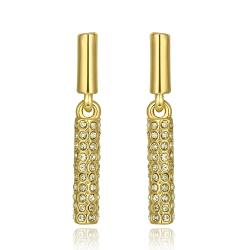 Vienna Jewelry 18K Gold Horizontal Classic Drop Down Earrings Made with Swarovksi Elements - Thumbnail 0