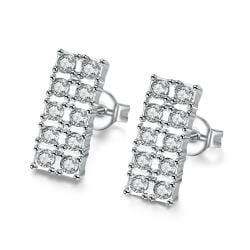 Vienna Jewelry 18K White GP Geometric Simulated Diamond Studded - Thumbnail 0