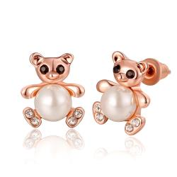 Vienna Jewelry 18K Rose Gold Mini Petite Teddy Bear Stud Earrings Made with Swarovksi Elements - Thumbnail 0