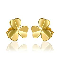 Vienna Jewelry 18K Gold Clean Plate Clover Shaped Stud Earrings Made with Swarovksi Elements - Thumbnail 0