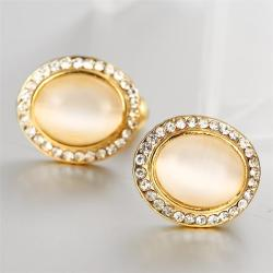 Vienna Jewelry 18K Gold Spiral Classic Stud Earrings Made with Swarovksi Elements - Thumbnail 0