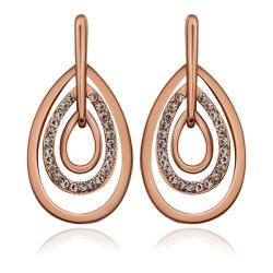 Vienna Jewelry 18K Rose Gold Abstract Artistic Drop Down Earrings Made with Swarovksi Elements