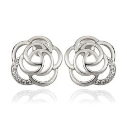 Vienna Jewelry 18K White Gold Hollow Floral Petal Stud Earrings Made with Swarovksi Elements - Thumbnail 0