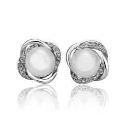 Vienna Jewelry 18K White Gold Spiral Studs with Pearl Center Made with Swarovksi Elements