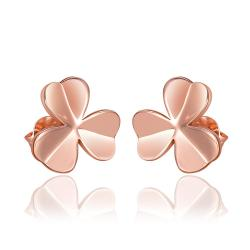 Vienna Jewelry 18K Rose Gold Clean Plate Clover Shaped Stud Earrings Made with Swarovksi Elements - Thumbnail 0