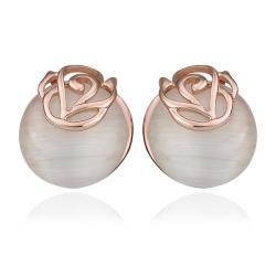 Vienna Jewelry 18K Rose Gold Swirl Design Large Pearl Stud Earrings Made with Swarovksi Elements - Thumbnail 0