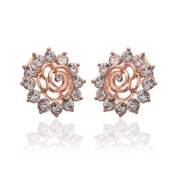 Vienna Jewelry 18K Rose Gold Snowflake Earrings with Crystals Made with Swarovksi Elements - Thumbnail 0