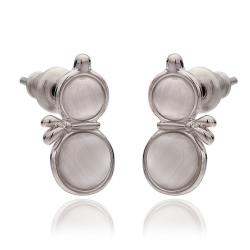 Vienna Jewelry 18K White Gold Double Chamber Stud Earrings Made with Swarovksi Elements - Thumbnail 0