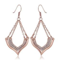 Vienna Jewelry 18K Rose Gold Changelier Style Drop Down Earrings Made with Swarovksi Elements - Thumbnail 0