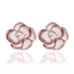 Vienna Jewelry 18K Rose Gold Floral Petals with Ivory Inlay Made with Swarovksi Elements - Thumbnail 0