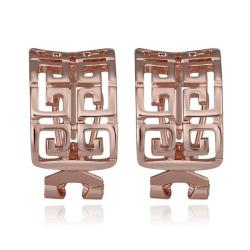 Vienna Jewelry 18K Rose Gold Oriental Design Stud Earrings Made with Swarovksi Elements - Thumbnail 0