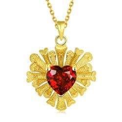 Vienna Jewelry Gold Plated Overlayering Heart Necklace - Thumbnail 0