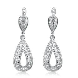 Vienna Jewelry 18K White Gold Plated Bohemian Style Drop Earrings - Thumbnail 0