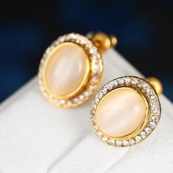 Vienna Jewelry 18K Gold Greek Inspired Stud Earrings Made with Swarovksi Elements - Thumbnail 0