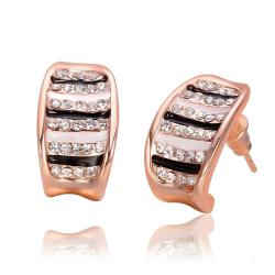 Vienna Jewelry 18K Rose Gold Stud Earrings with Ivory & Onyx Lining Made with Swarovksi Elements - Thumbnail 0