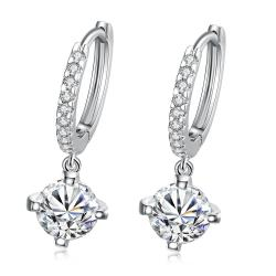 Vienna Jewelry 18K White Gold Plated Classic Drop Earring - Thumbnail 0