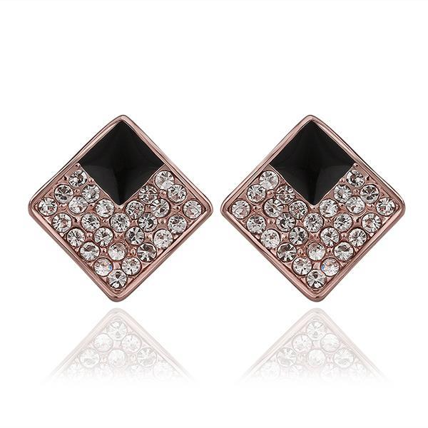 Vienna Jewelry 18K Rose Gold Diamond Shaped Stud Earrings with Onyx Layering Made with Swarovksi Elements
