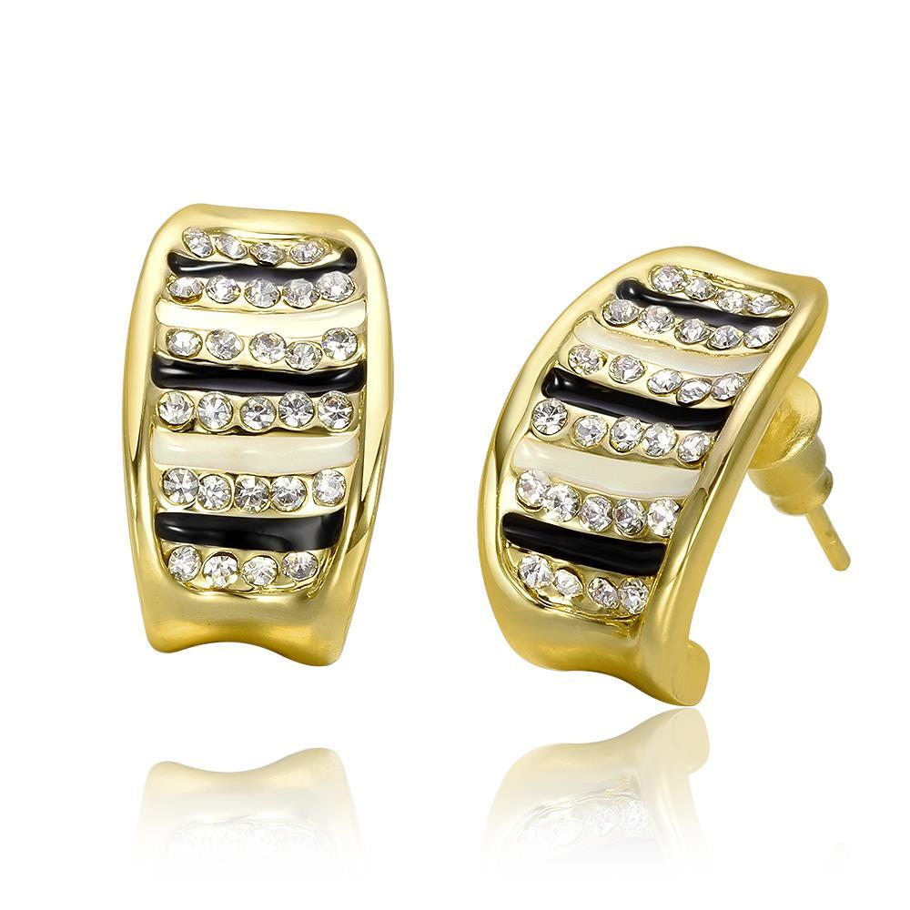 Vienna Jewelry 18K Gold Stud Earrings with Ivory & Onyx Lining Made with Swarovksi Elements