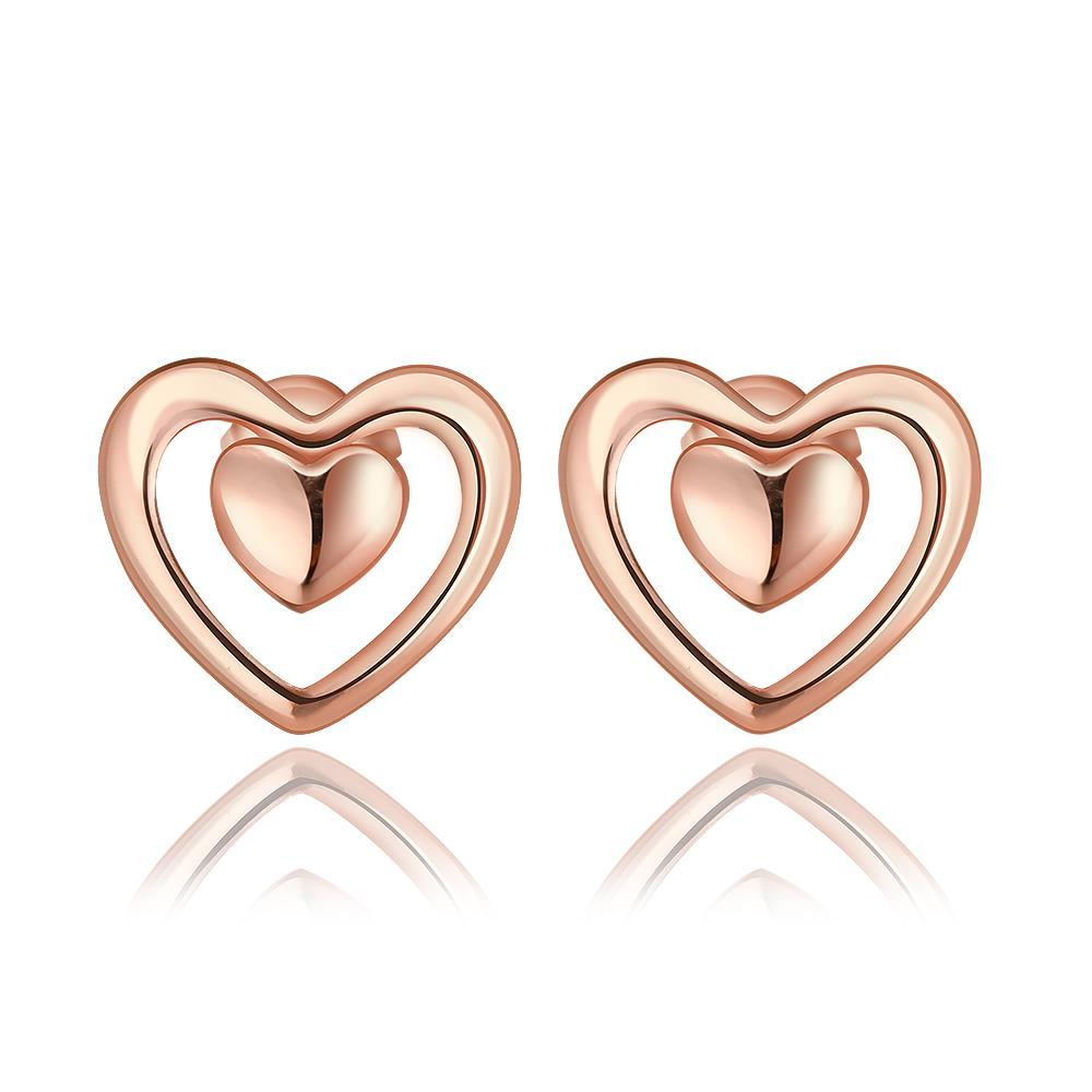 Vienna Jewelry 18K Rose Gold Petite Heart Shaped Stud Earrings Made with Swarovksi Elements
