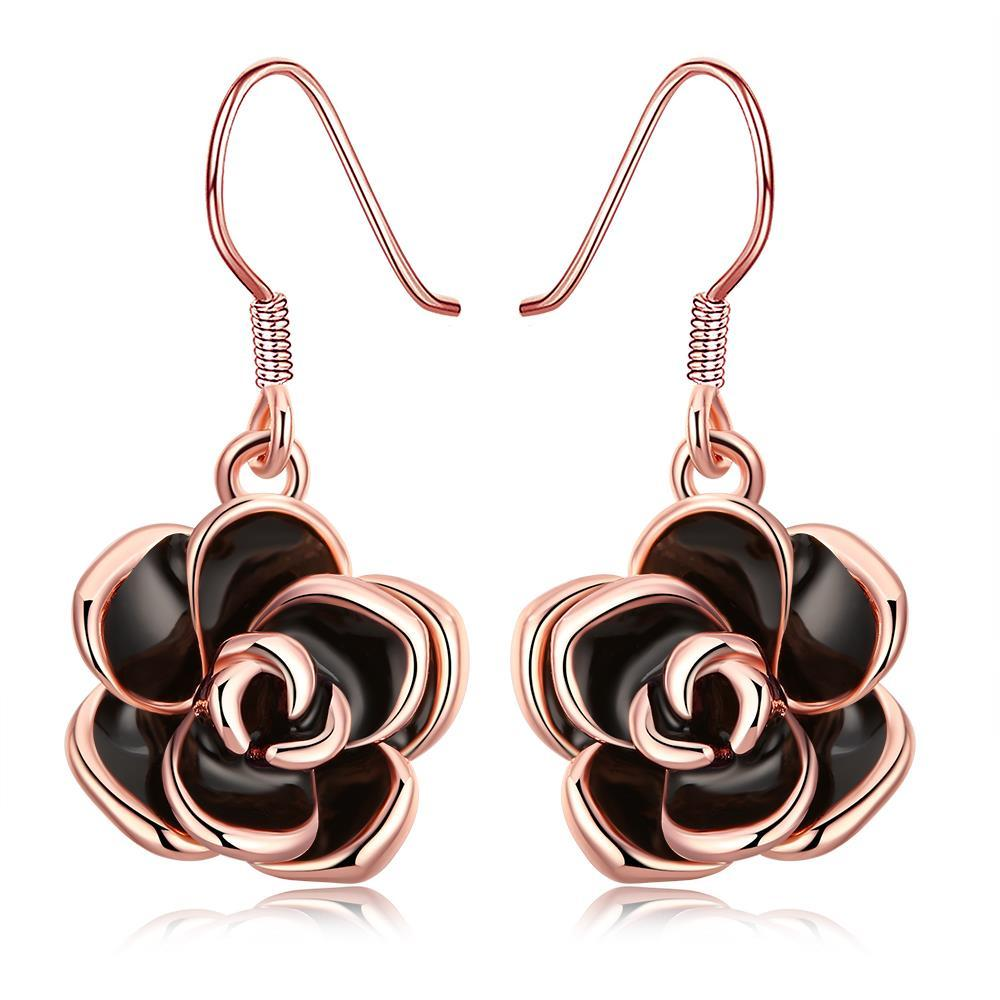 Vienna Jewelry 18K Rose Gold Plated Flower Drop Earring
