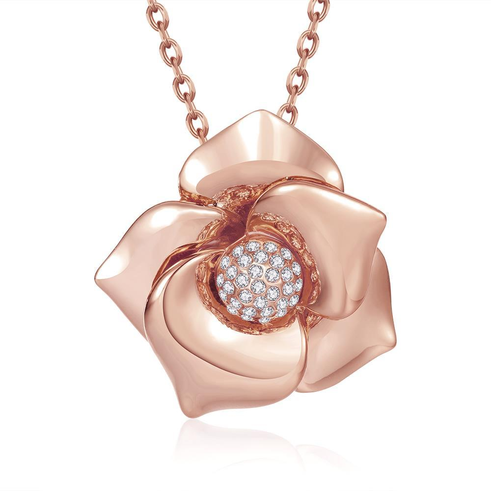 Vienna Jewelry Rose Gold Plated Blossoming Floral Necklace