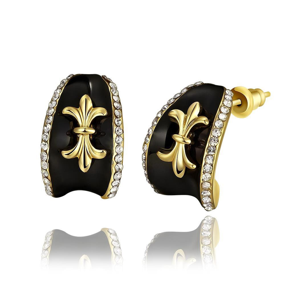 Vienna Jewelry 18K Gold Stud Earrings with French Emblem Made with Swarovksi Elements